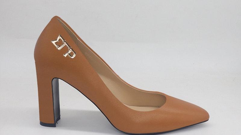 ΣΓΡ Cappuccino Genuine Leather Block 4in heels  with gold buckle