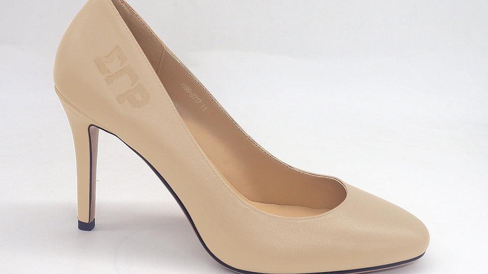 ΣΓΡ Beige Genuine Leather Round Toe Debossed heels