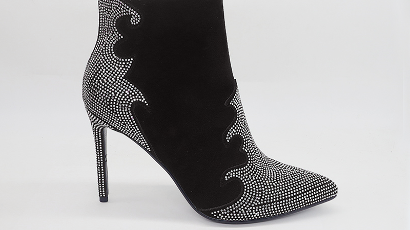 Black Genuine Suede Leather 4in Boots with rhinestones