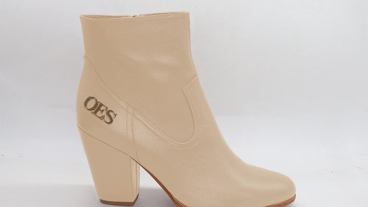 OES Beige Genuine Leather Boots with gold  buckle