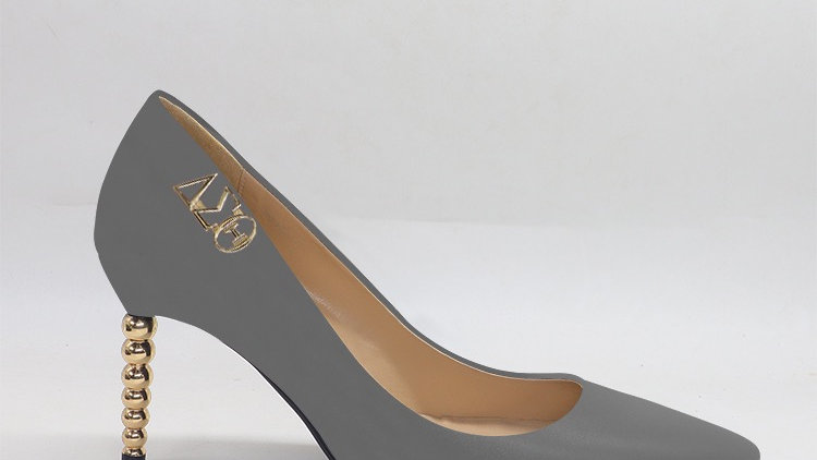 ΔΣΘ Dark Gray Genuine leather heels with gold  buckle