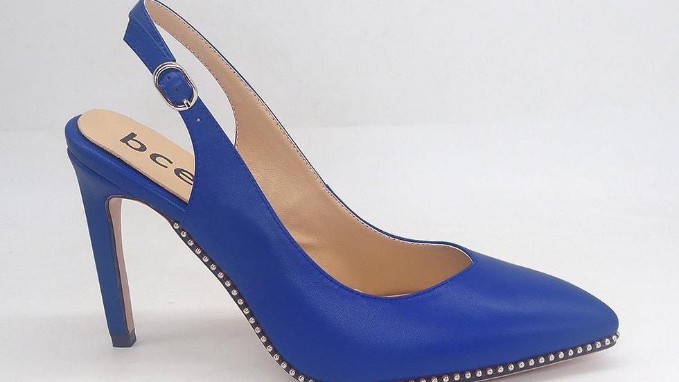 Blue Slingback Genuine Leather Heels
