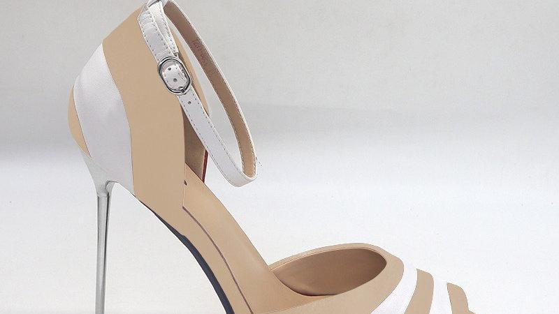 Beige/White Genuine Leather 5in heels