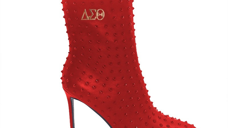 ΔΣΘ Red Genuine Leather Spiked 4in Boots w/silver embedded buckle