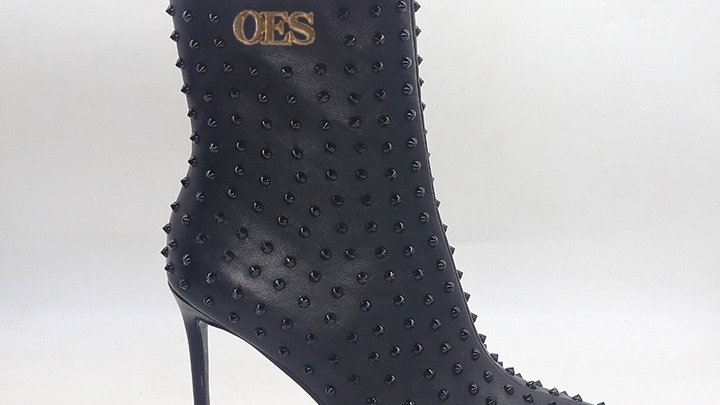 OES Genuine Leather Spiked 4in Boots w/gold embedded buckle