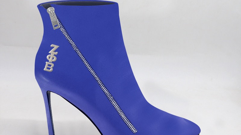 ΖΦΒ Blue Genuine Leather 4in Boots w/ silver embedded buckle