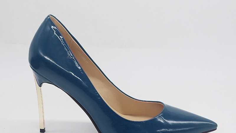 Blue Patent Leather with Gold 4 in heels