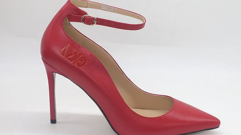 Red ΔΣΘ Genuine Leather debossed strap heels