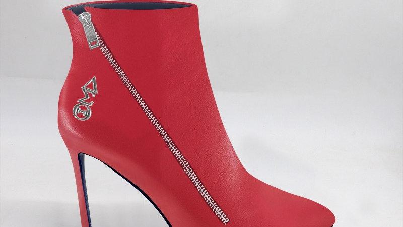 ΔΣΘ Red Genuine Leather 4in Boots w/ silver embedded buckle