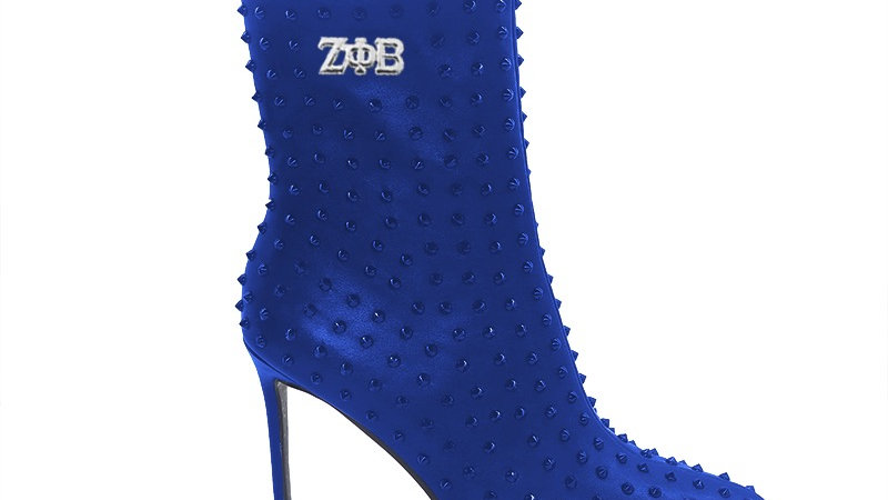ΖΦΒ Blue Genuine Leather Spiked 4in Boots w/silver embedded buckle