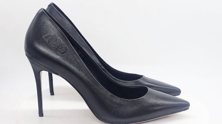 Black ΔΣΘ Debossed Genuine Flat Grain leather heel
