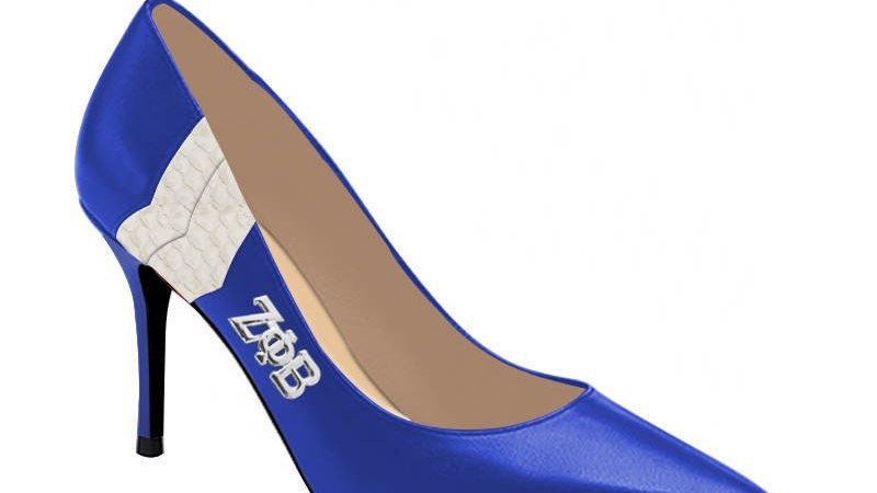 Blue ΖΦΒ Genuine Leather/Faux Snake skin heels