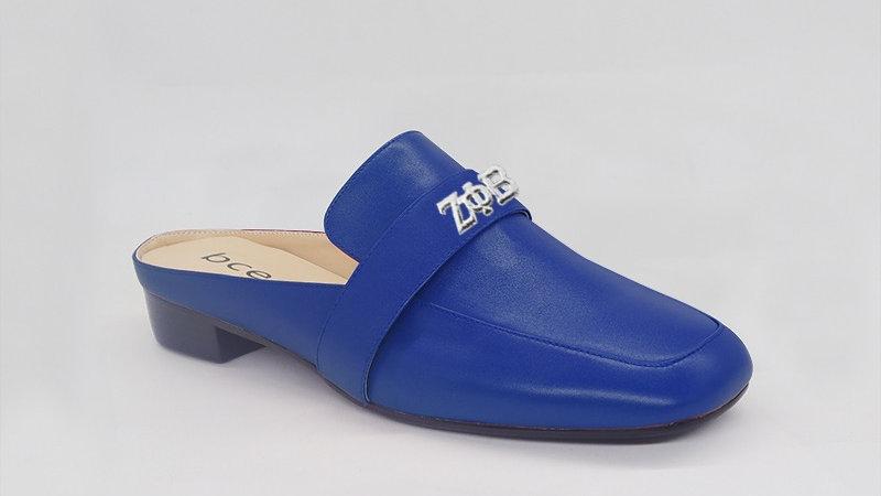 ΖΦΒ Blue Genuine Leather Flats with silver embedded buckle