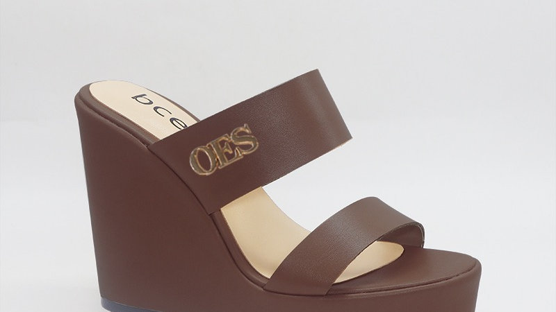 OES Mocha Genuine Leather Wedges with gold embedded buckle
