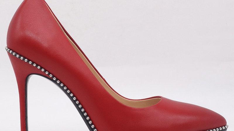 Red Genuine Leather Heels