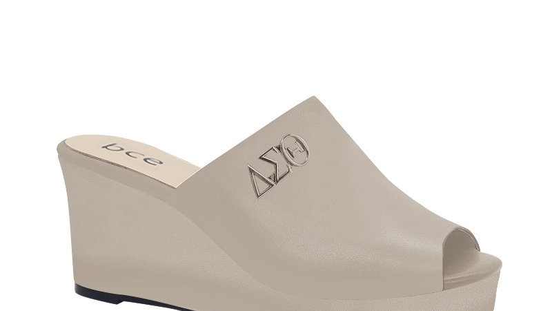 ΔΣΘ Light Gray Genuine Leather Wedges with silver embedde buckle