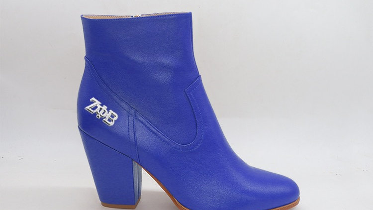 ΖΦΒ  Blue Genuine Leather Boots with silver buckle
