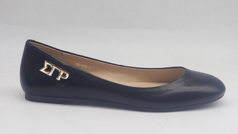 ΣΓΡ Black Genuine Leather Flats with gold buckle
