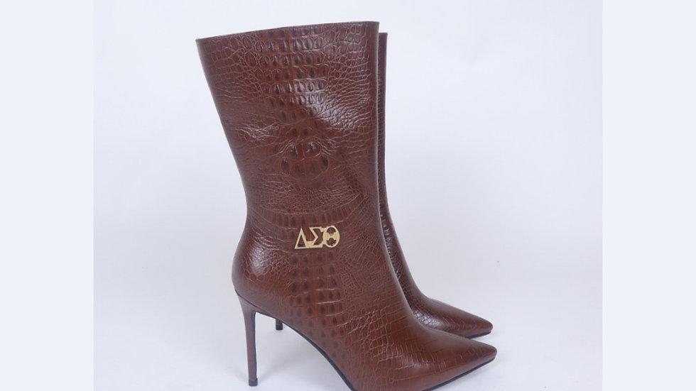 ΔΣΘ Brown Genuine  Leather Boots Ships December 20th