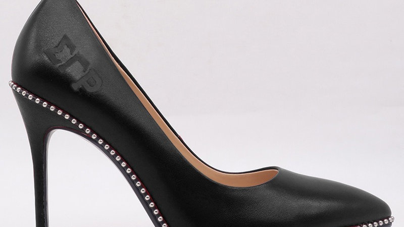ΣΓΡ  Black Genuine Leather Debossed Heels