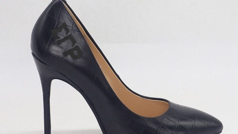 ΣΓΡ Black Crocodile Pattern Leather Debossed heels