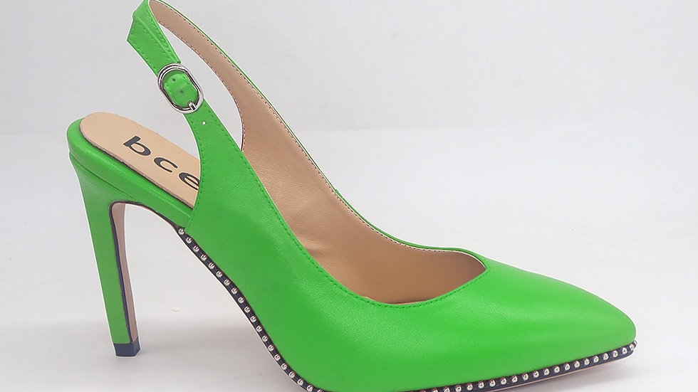 Green Slingback genuine leather heels