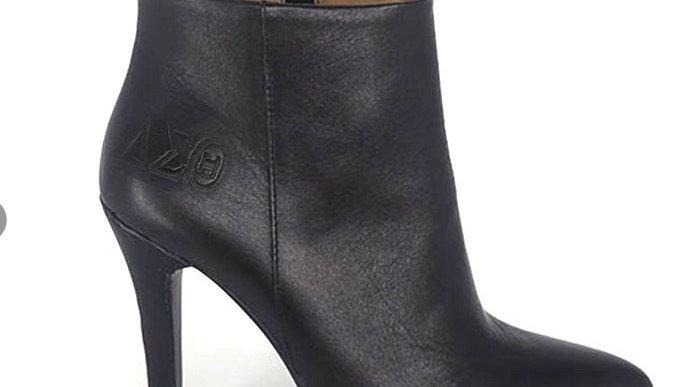 Genuine leather ΔΣΘ debossed heels