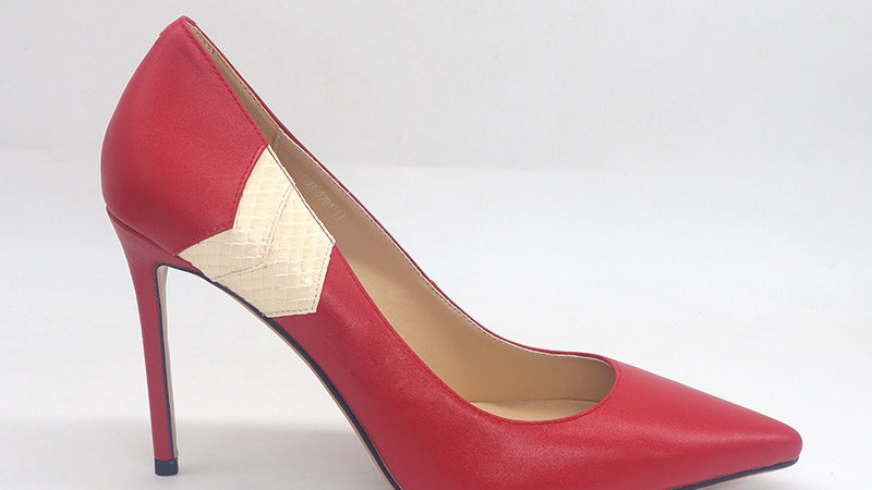 Red Genuine Leather/White Faux Snake skin heels