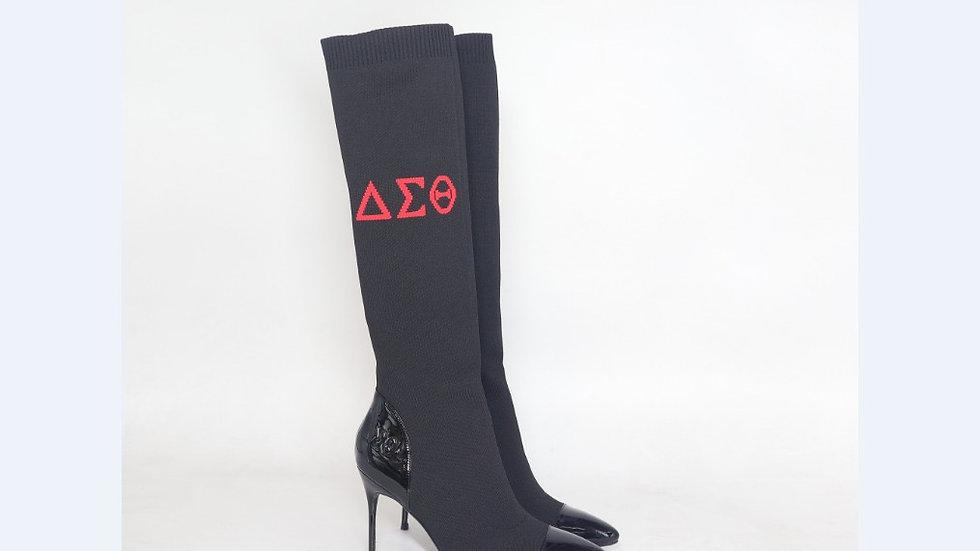 ΔΣΘ Black Genuine Patent Leather and Knit 4in Boots