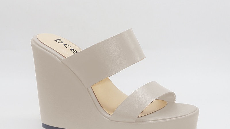 Light Gray Genuine Leather 5in Wedges