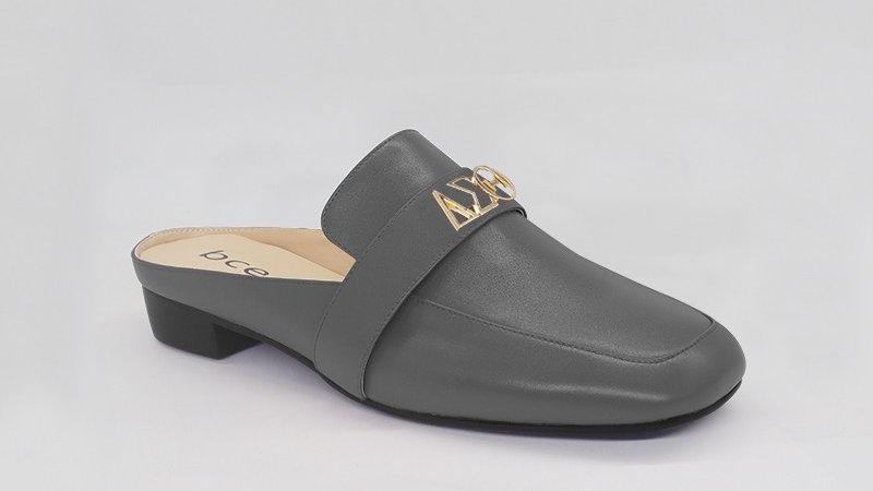 ΔΣΘ Gray  Genuine Leather Flats with gold embedded buckle