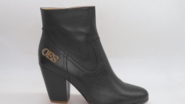 OES Black Genuine Leather Boots with gold  buckle