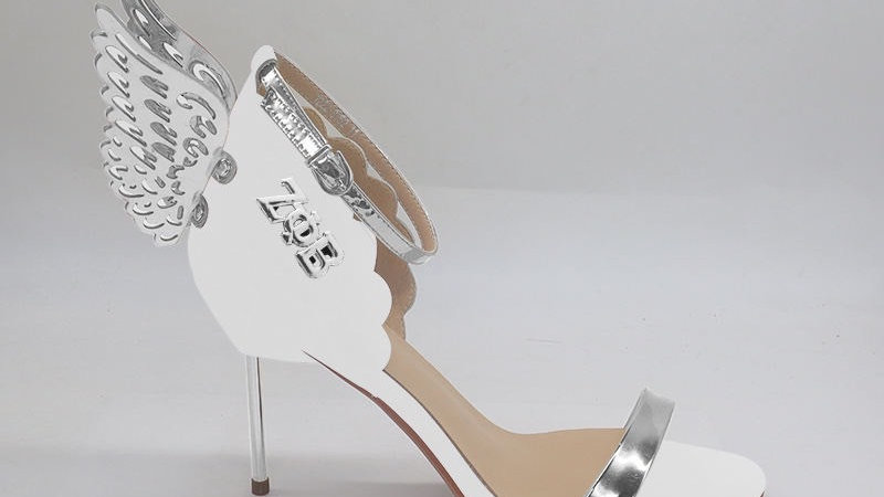 White Winged Genuine Leather 4in heels with silver buckle