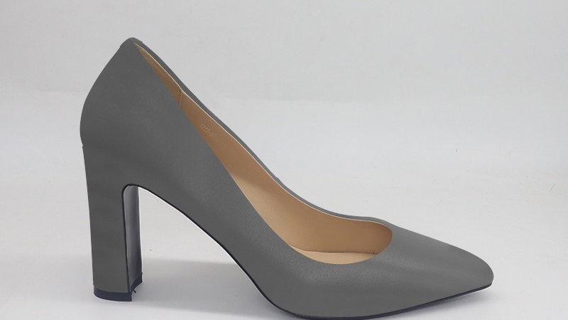Gray Genuine Leather Block 4in heels