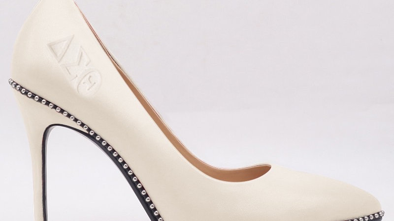 Cream ΔΣΘ Genuine Leather Debossed heels