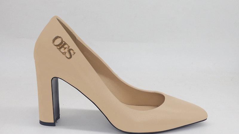 OES Beige Genuine Leather block heels