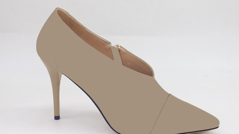 Beige Genuine Leather and Faux Snake Skin Heels