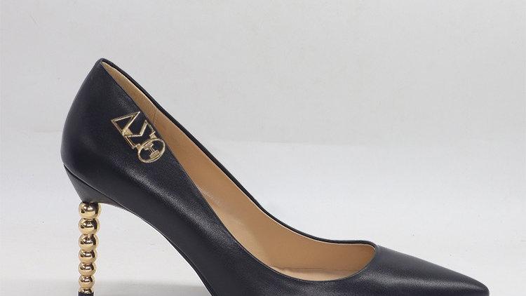 ΔΣΘ Black Genuine leather heels with gold  buckle
