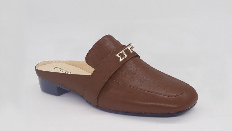 ΣΓΡ Mocha Genuine Leather Flats with gold embedde buckle