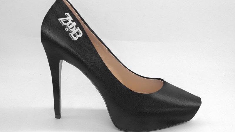 ΖΦΒ Black Genuine Leather Debossed Platform 4in Heel with silver buckle