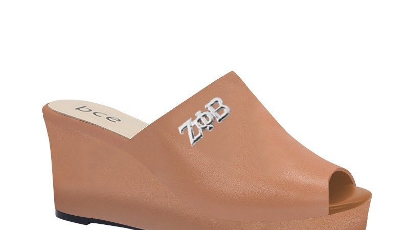 ΖΦΒ  Cappuccino Genuine Leather Wedges with silver embedde buckle