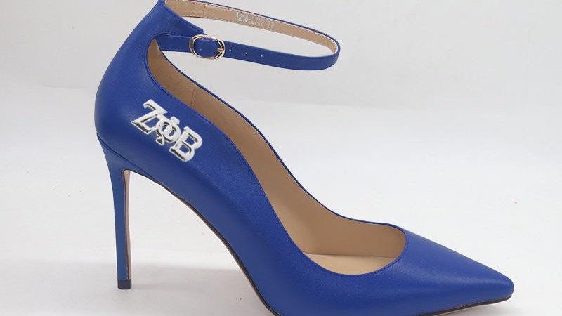 ΖΦΒ Blue Genuine Leather strap heel with silver buckle