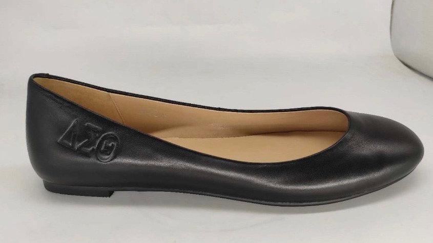 Black Genuine Leather ΔΣΘ Debossed Flats