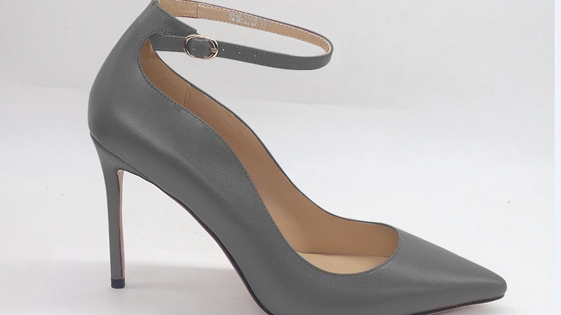 Gray Genuine Leather strap 4in heels