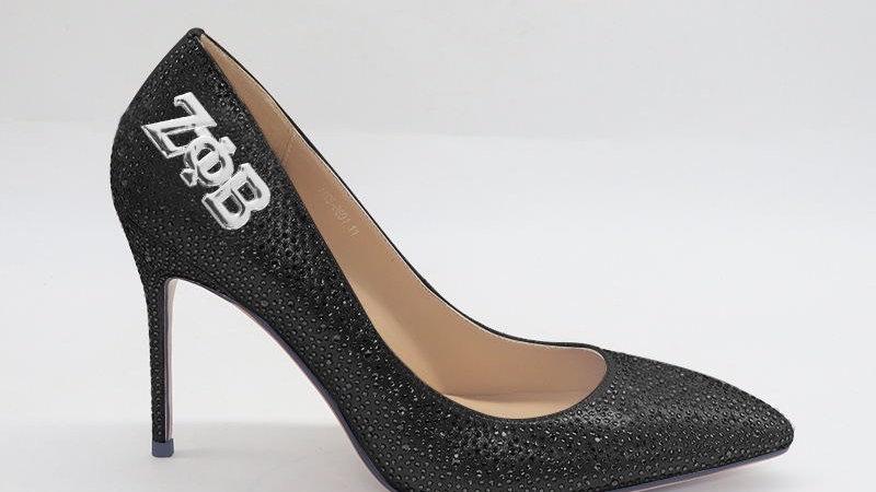 Black Rhinestone Heels w/ ΖΦΒ embedded buckle