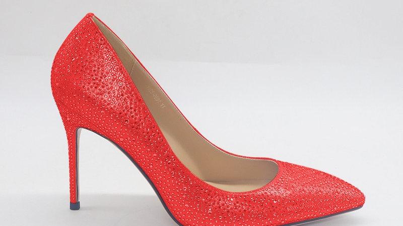 Red Rhinestone Heels