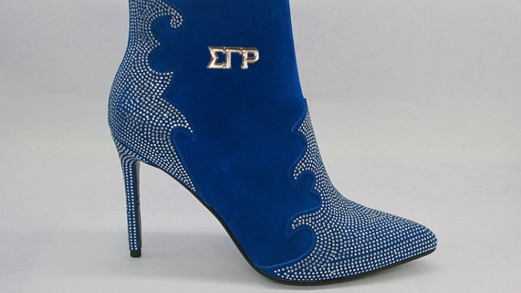 Blue Genuine Suede Leather 4in Boots with gold rhinestones