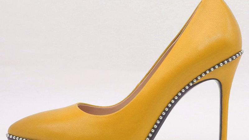 Gold Genuine leather heel