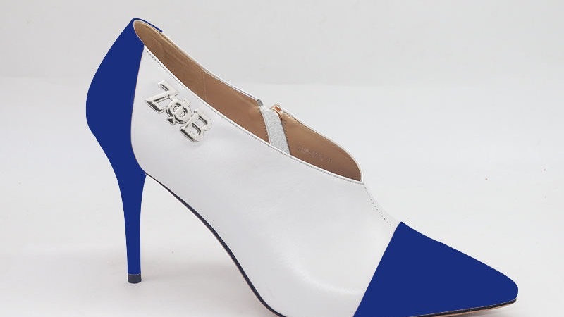 ΖΦΒ Blue/White Genuine Leather Bootie with Silver Buckle