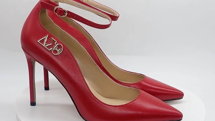 Red Genuine Leather strap heel with silver buckle